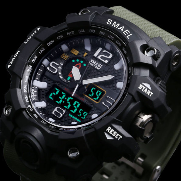 Men Military Watch 50m Waterproof Wristwatch LED Quartz Clock Sport Watch Male relogios masculino 1545 Sport S Shock Watch Men 1