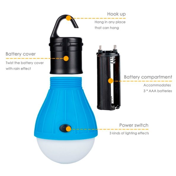 Mini Portable Lantern Tent Light LED Bulb Emergency Lamp Waterproof Hanging Hook Flashlight For Camping 4 Colors Use 3*AAA 1