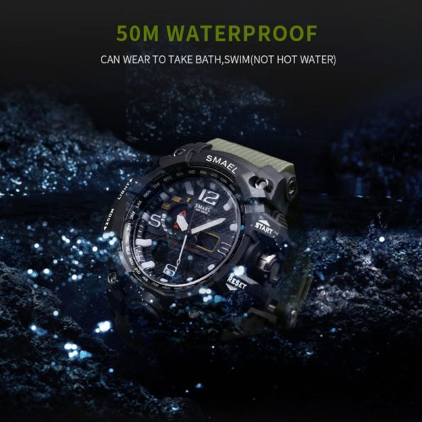 Men Military Watch 50m Waterproof Wristwatch LED Quartz Clock Sport Watch Male relogios masculino 1545 Sport S Shock Watch Men 2